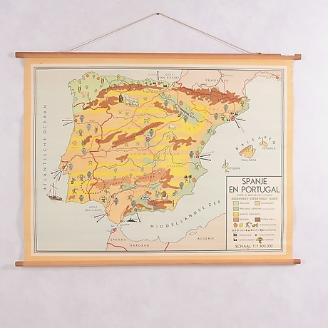 School Map Spain And Portugal Early 1900s Other Other Auctionet