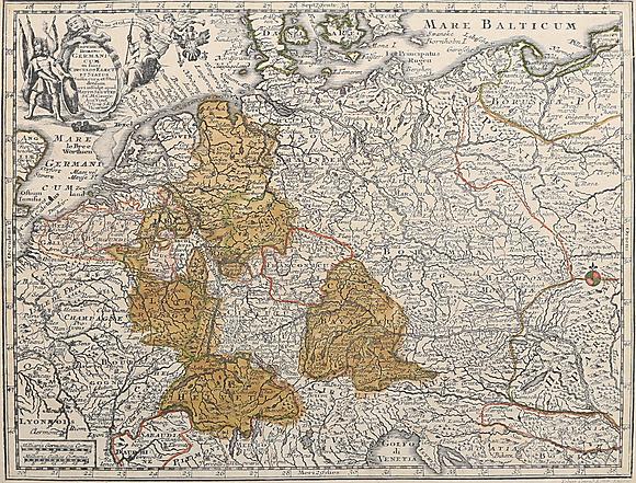Karta Over Tyskland Delvis Kolorerat Kopparstick Matthias