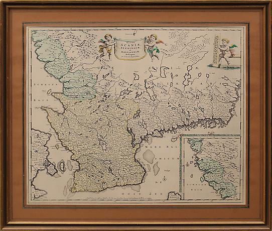 Karta Over Skane Blekinge Halland 1900 Talets Borjan Art