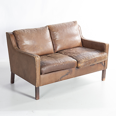 Two Seater Leather Settee Probably