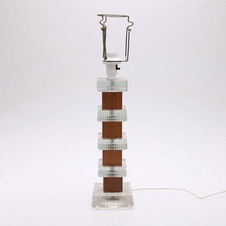 BORDSLAMPOR, 3 st, glas, bl a Pukeberg, Rosdala samt Lamp