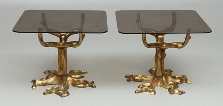 Soffbord soffbord metall : SOFFBORD 2 st, metall och glas, 1900-talets andra hälft. Möbler ...