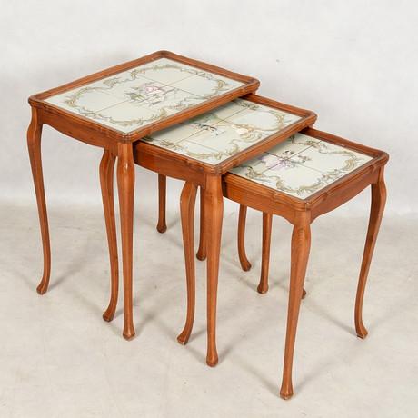 SATSBORD, 3 delar med kakelplattor, rokokostil. Möbler