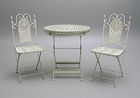 Tradgardsbord Stolar Ett Par Metall Jarn Vitmalad 1900 2000