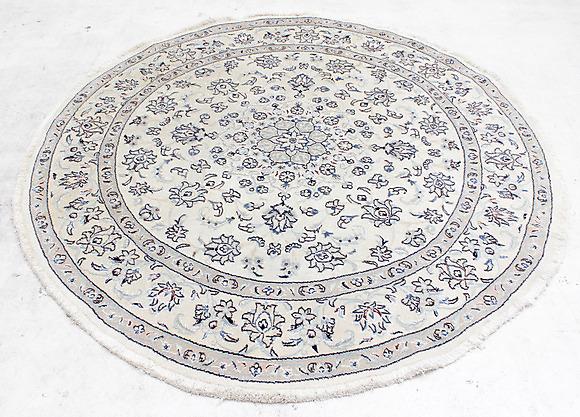 Matta, Orientalisk, Rund, Nain Med Silkesinslag, Diameter 200 Cm Mattor& Textil Mattor