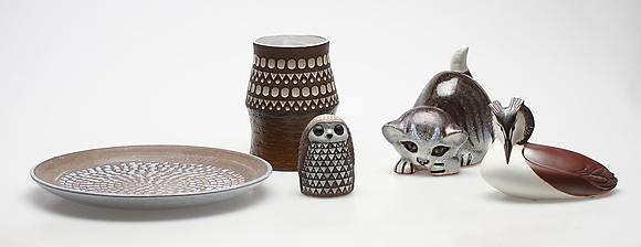 Keramik 5 Delar Upsala Ekeby Nittsj 246 Gustavsberg