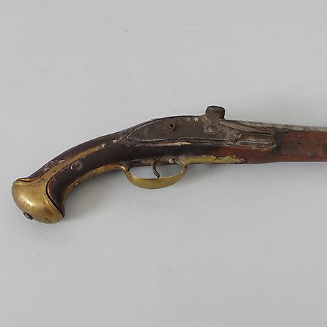 PISTOL, flintlås, 1700-tal. Mynt, Medaljer & Frimärken - Auctionet