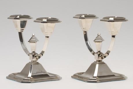 LJUSSTAKAR, 1 par, silver, Tostrup, Norge.