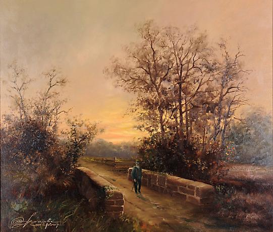 Rudolf otto franke abendlicher spaziergang l auf leinwand 70 x 60 cm l otto franke - Dusseldorf bilder auf leinwand ...