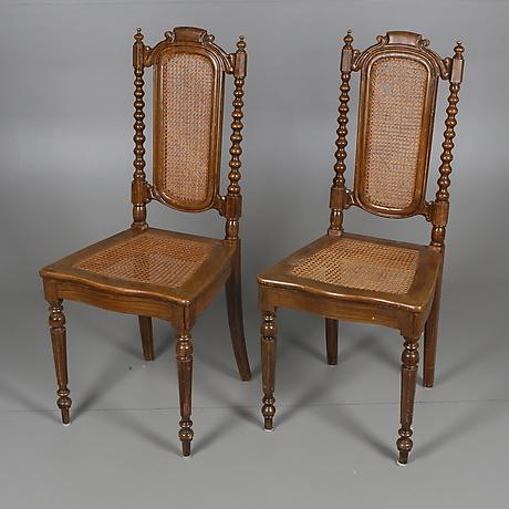 Nya STOLAR, ett par, rotting, Nyrenässans, tidigt 1900-tal. Möbler WQ-13