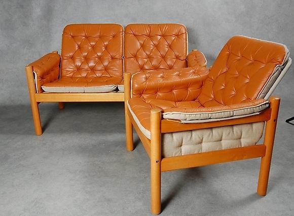 SOFFA, FåTÖLJ, skinn, Safarimodell, 1960 70 tal Möbler Soffor& Sittgrupper Auctionet