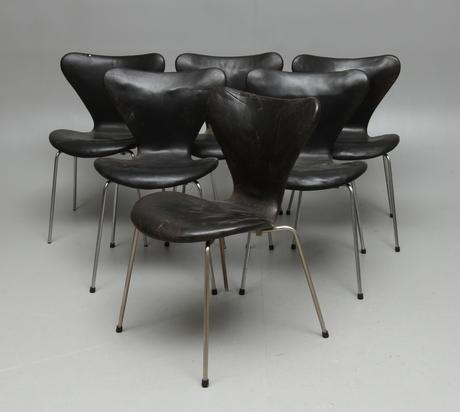 STOLAR, 6 st, Sjuan, Arne Jacobsen för Fritz Hansen