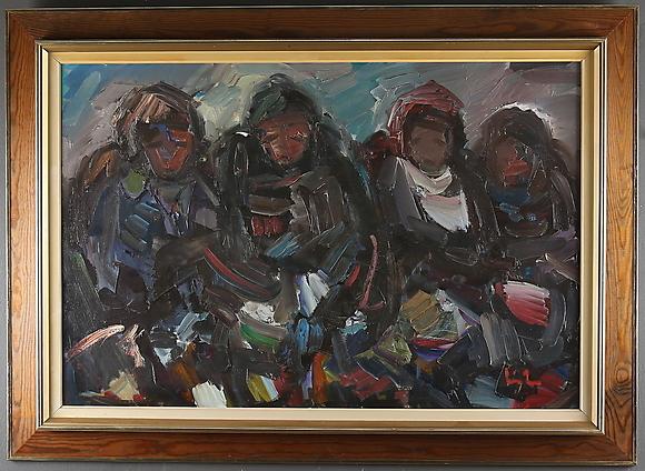 Eric Lo Ohlqvist Kvinnor I Samtal Olja Pa Duk Signerad Art Paintings Auctionet