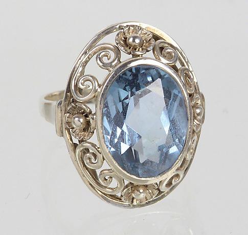 Art Deco Ring Mit Aquamarin Spinell Silber 835 Schmuck Und