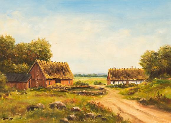 """BROR""""GORTHE"""" PERSSON Landskap med hus, olja på duk, signerad Gorthe Konst Måleri Auctionet"""