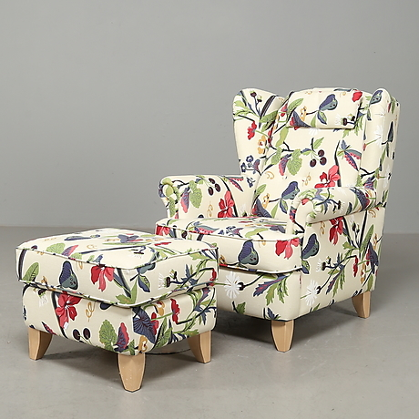 FÅTÖLJ m PALL, Blommigt tyg, IKEA, 2000 tal. Möbler