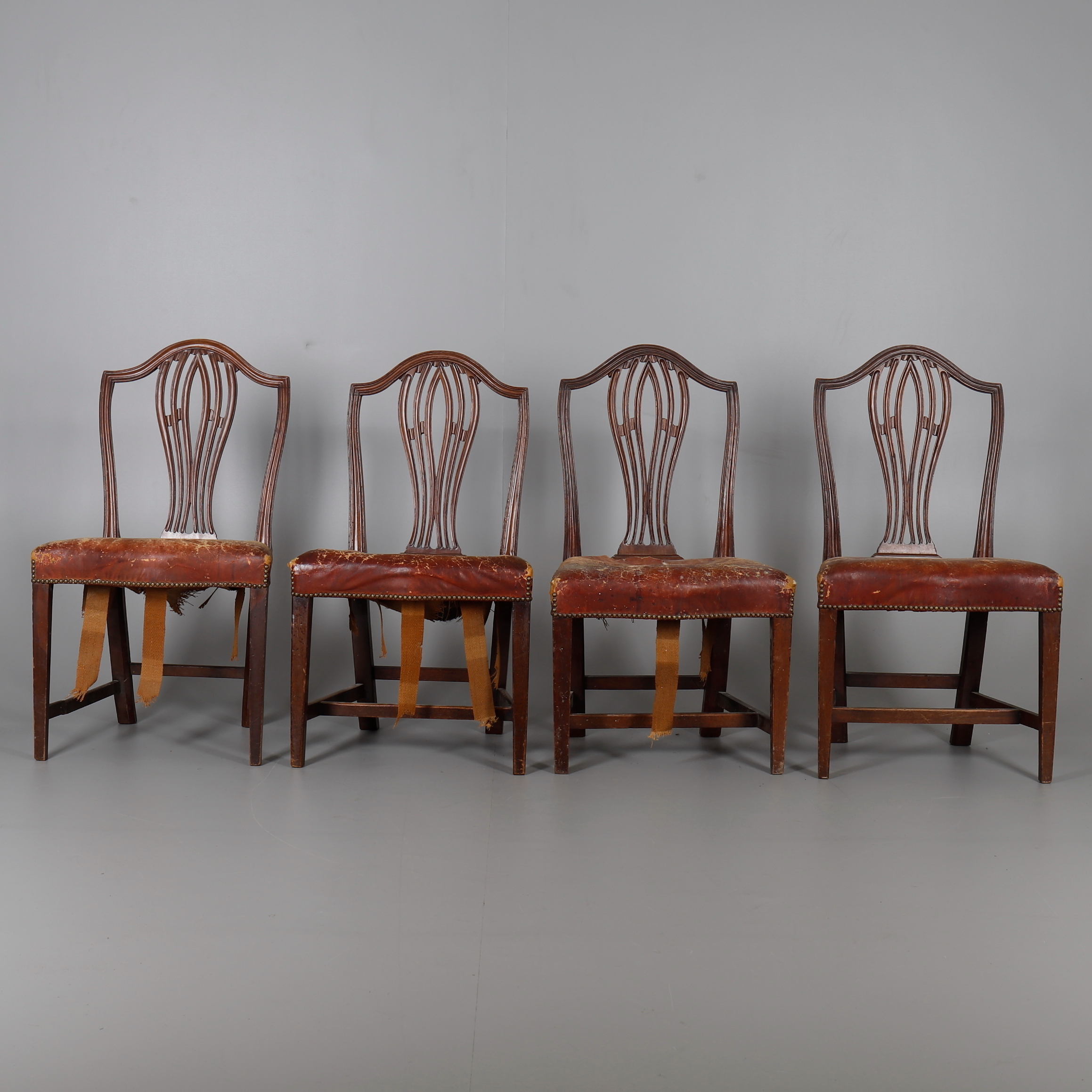 A Set Of Four Mahogany And Red Leather Upholstered Dining Chairs In George Iii Style Furniture Armchairs Chairs Auctionet