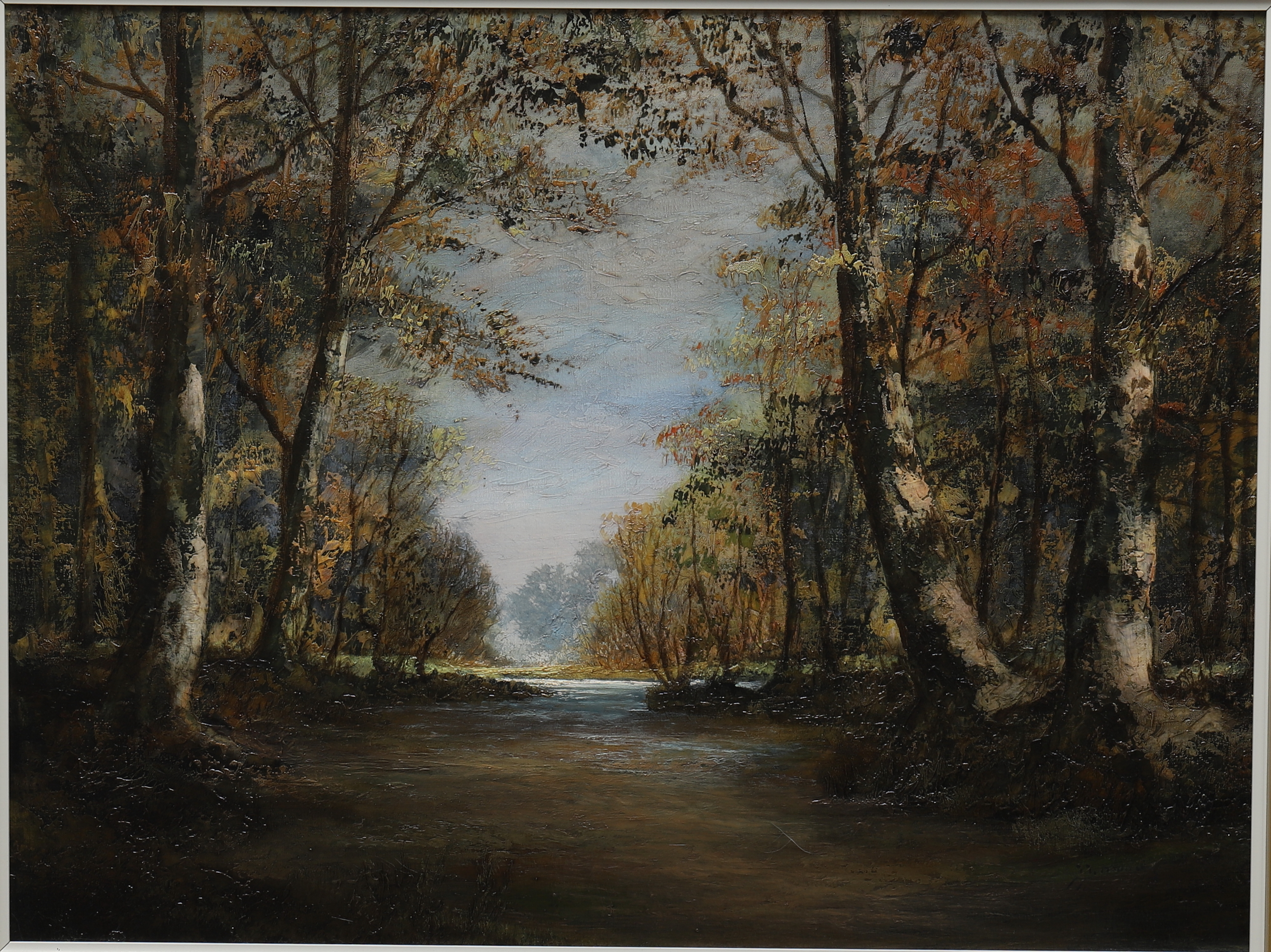 "J.J MOODY. Oljemålning på duk, ""Skog vid å"". Art - Paintings ..."