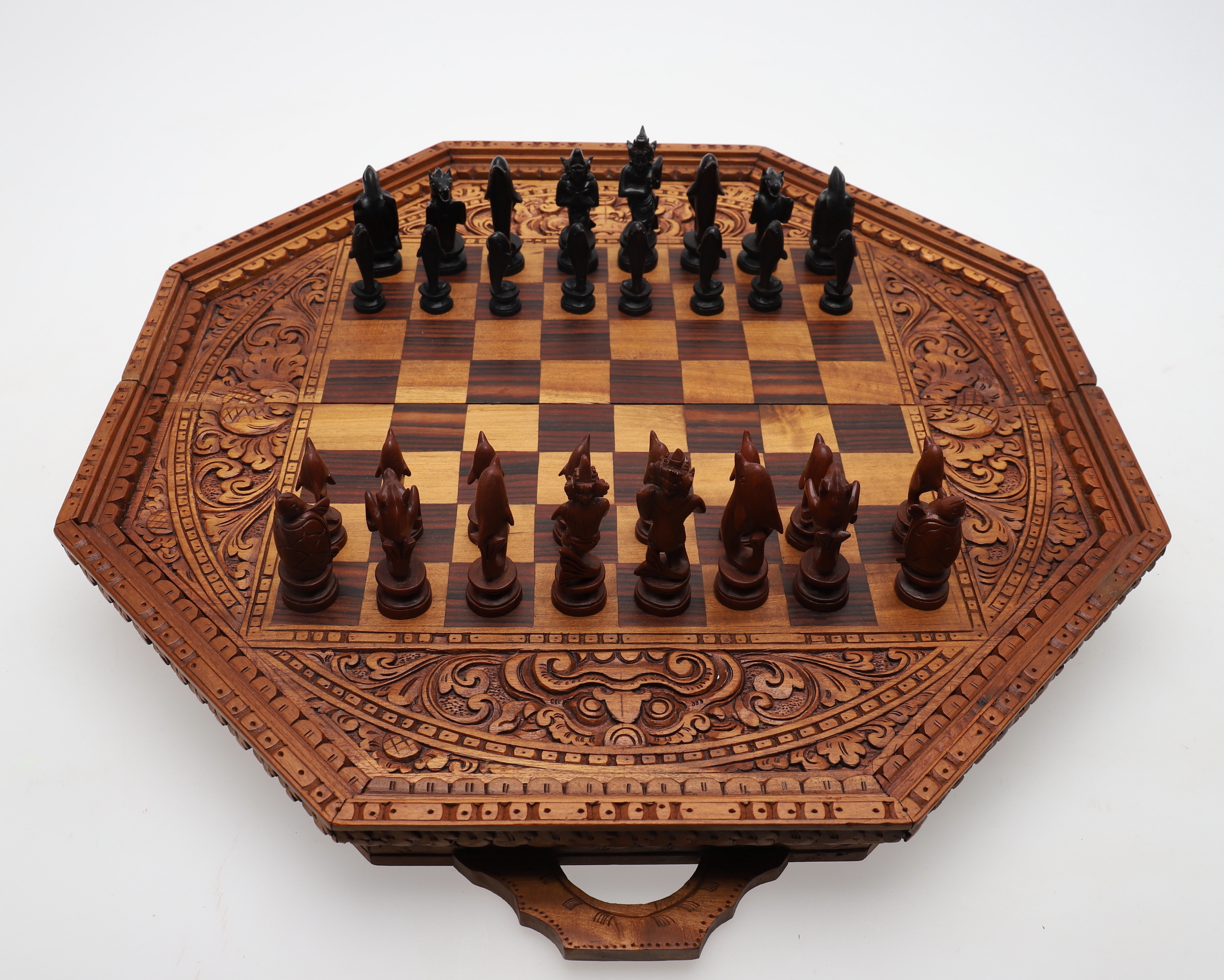 A Modern Chess Set With Carved Mythical Sea Figures Other