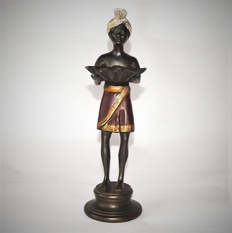 Bronzefigur Als Visitenkartenhalter Mit Weißem Turban Other