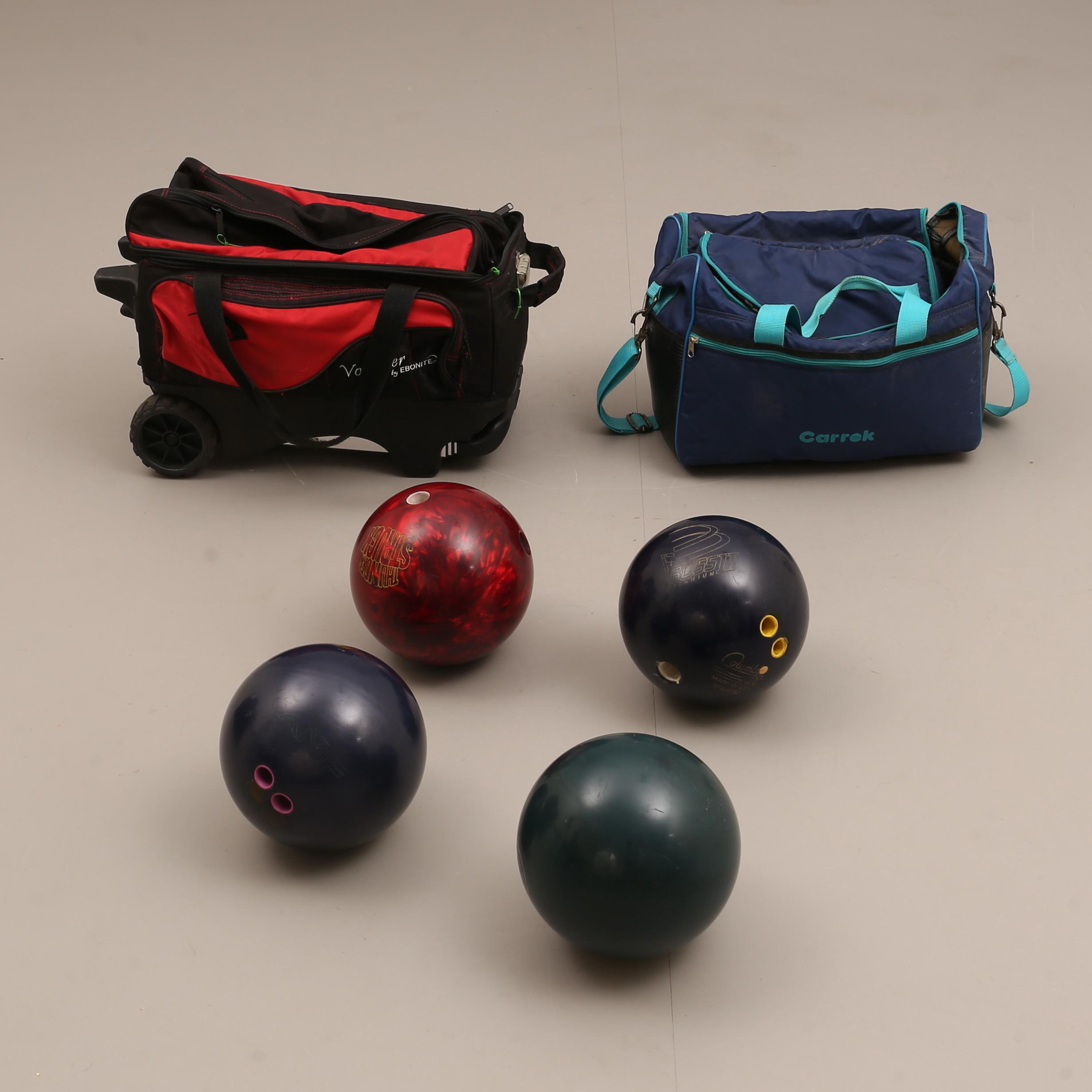 BOWLINGKLOT, 4 stycken, med väskor. Övrigt Övrigt Auctionet