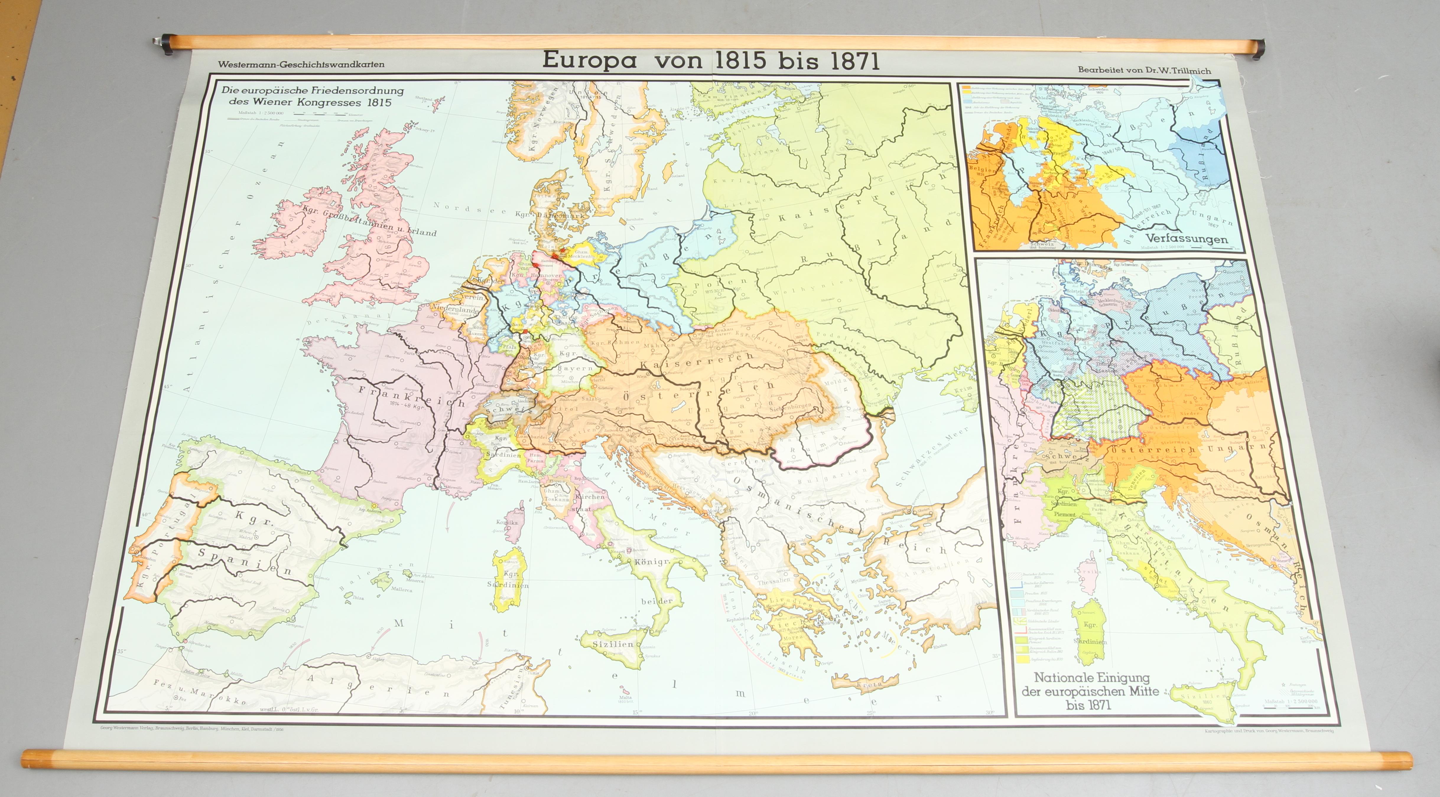 Karta Europa 1815.Skolplansch Europa Von 1815 Bis 1871 1900 Tal Books Maps