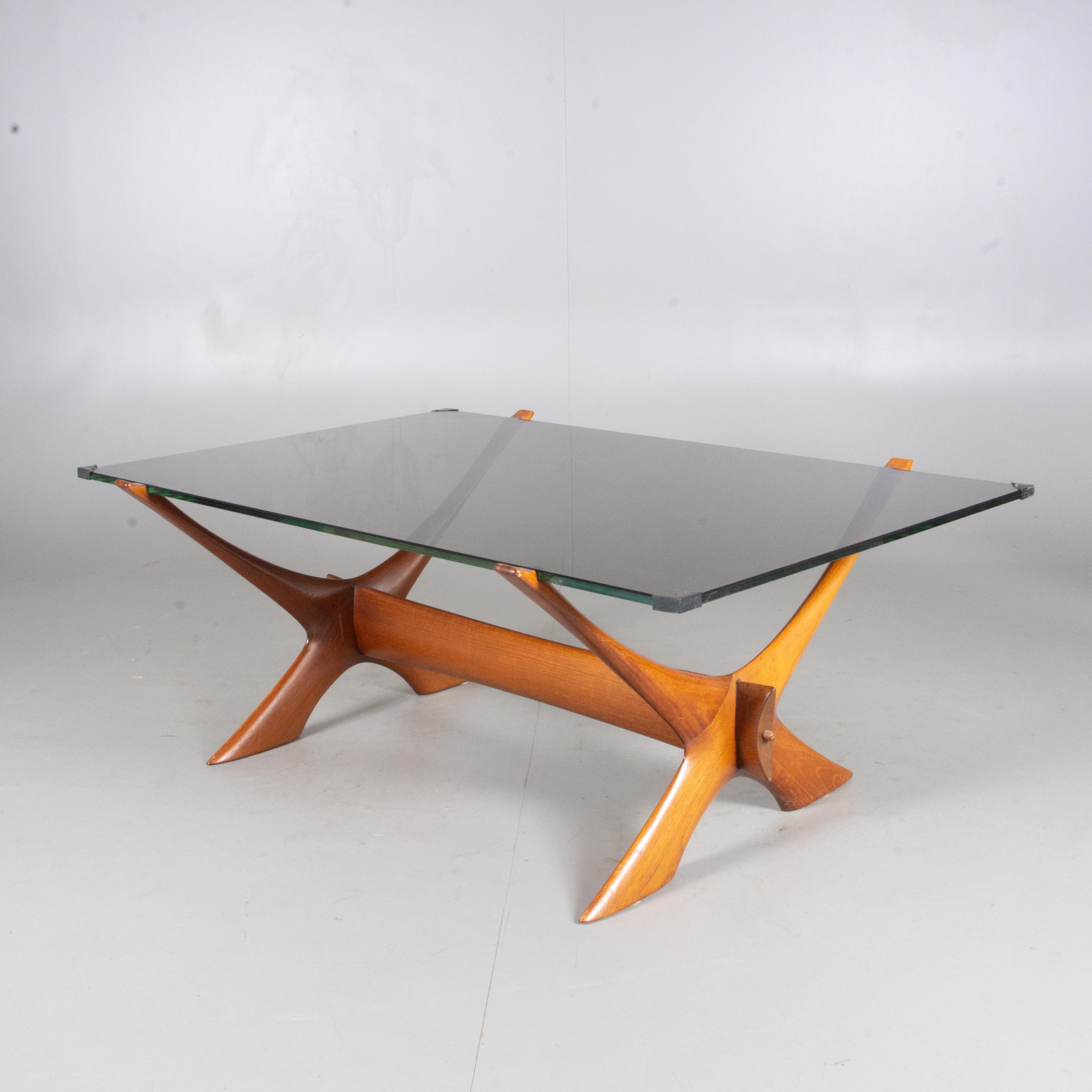 Coffee table, teak and glass, Fredrik Schriever Abeln