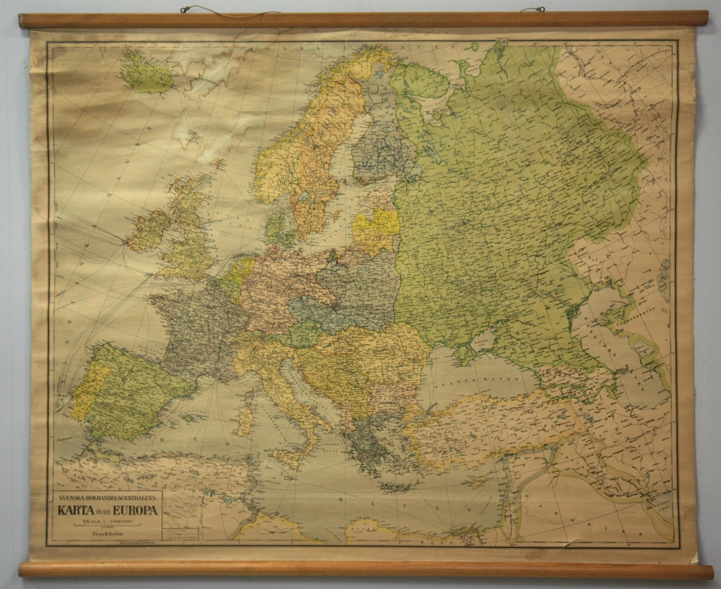 Karta Over Europa Svenska Bokhandelscentralens 1940 Tal Books