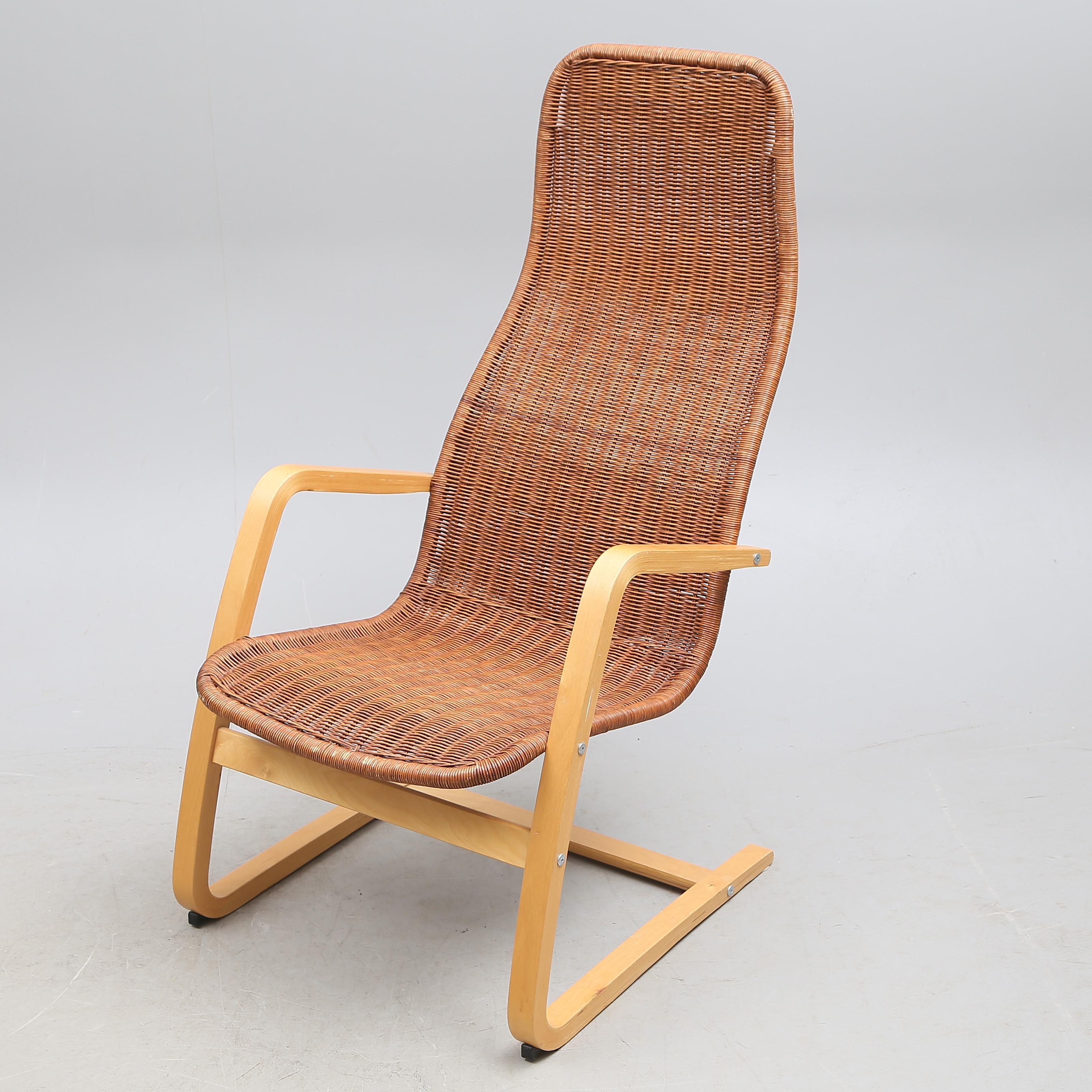 FÅTÖLJ, böjträrotting, Ikea, 1900 tal. Möbler Fåtöljer