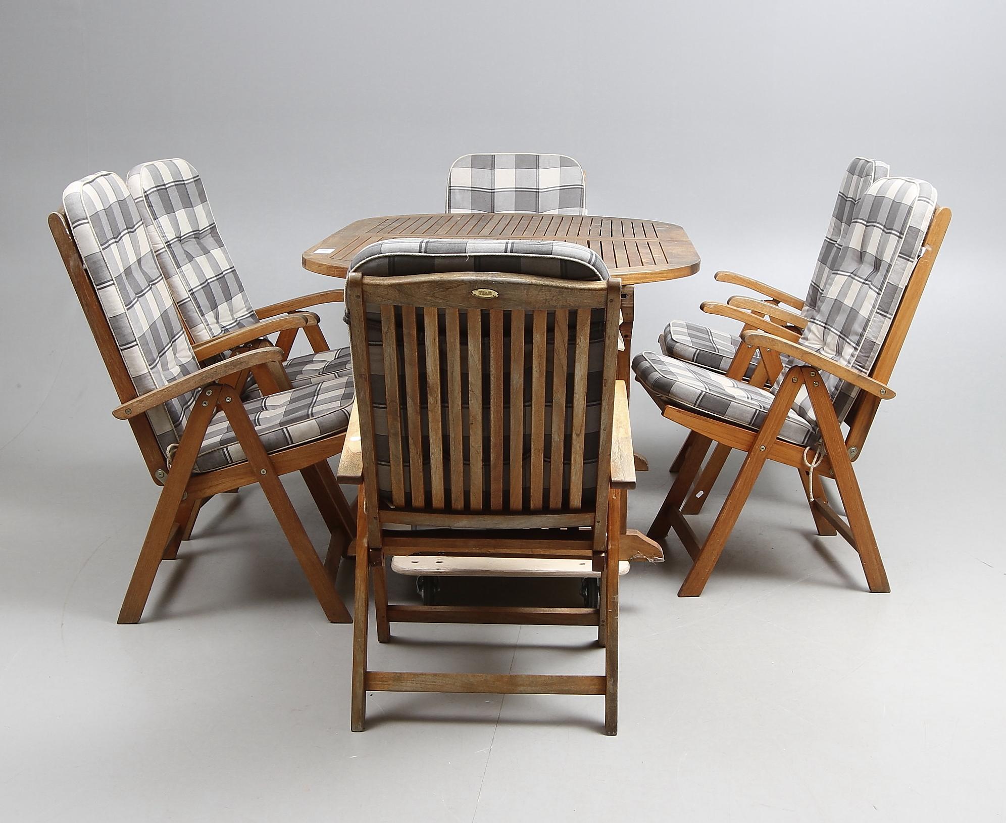 Tradgardsmobler Teak 7 Delar Samt Stolsdynor Furniture Garden