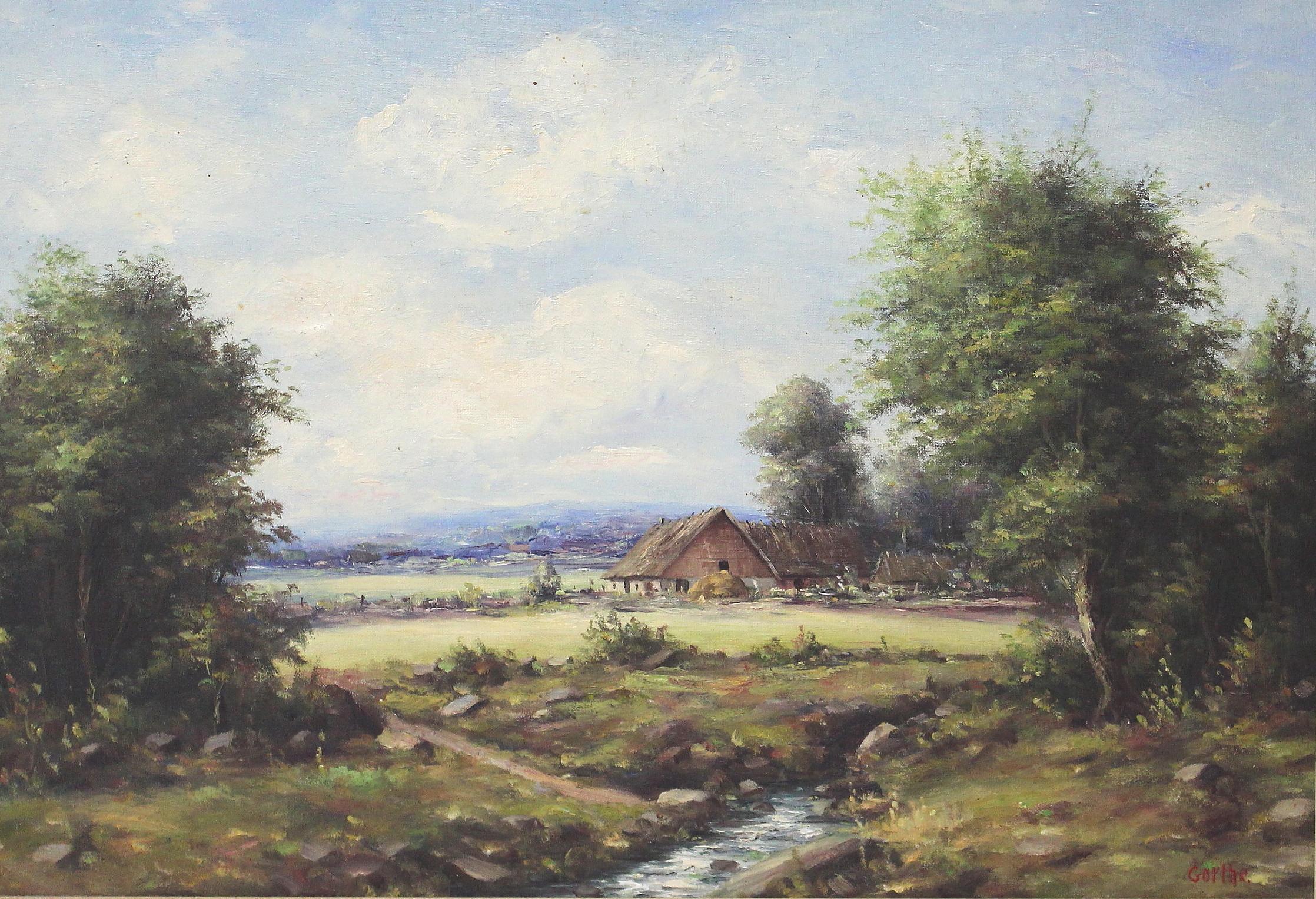 Bilder för 191203 BROR GORTHE PERSSON, olja på duk, gård vid bäck, signerad Gorthe Auctionet