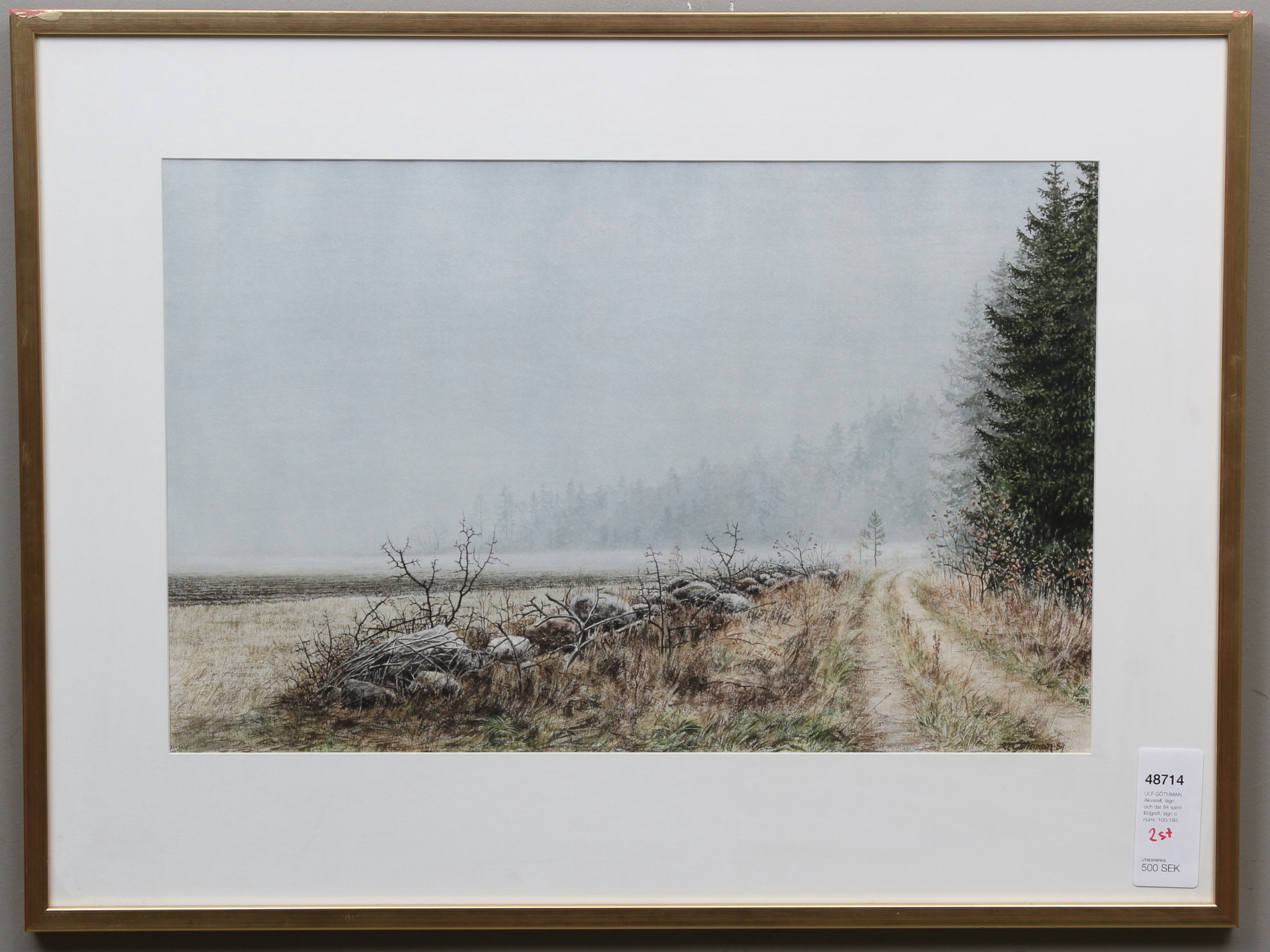 Ulf Gothman Watercolor Sign And Date 84 As Well As Lithography Sign O Number 100 190 Art Paintings Auctionet