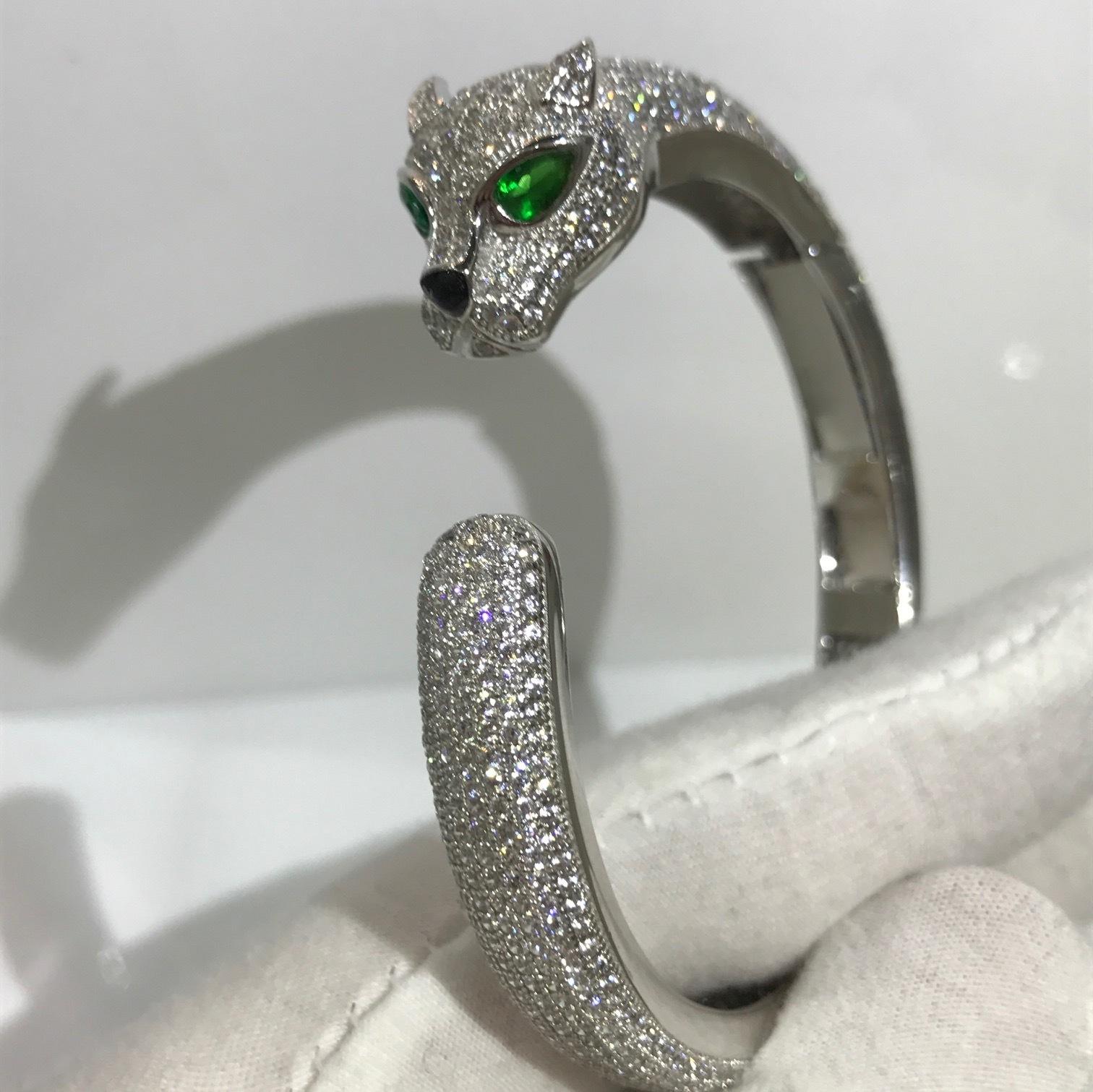 VintageFlowertop Jewelry Finds Leopard Bangle Bracelet Glam Leopard Clamper