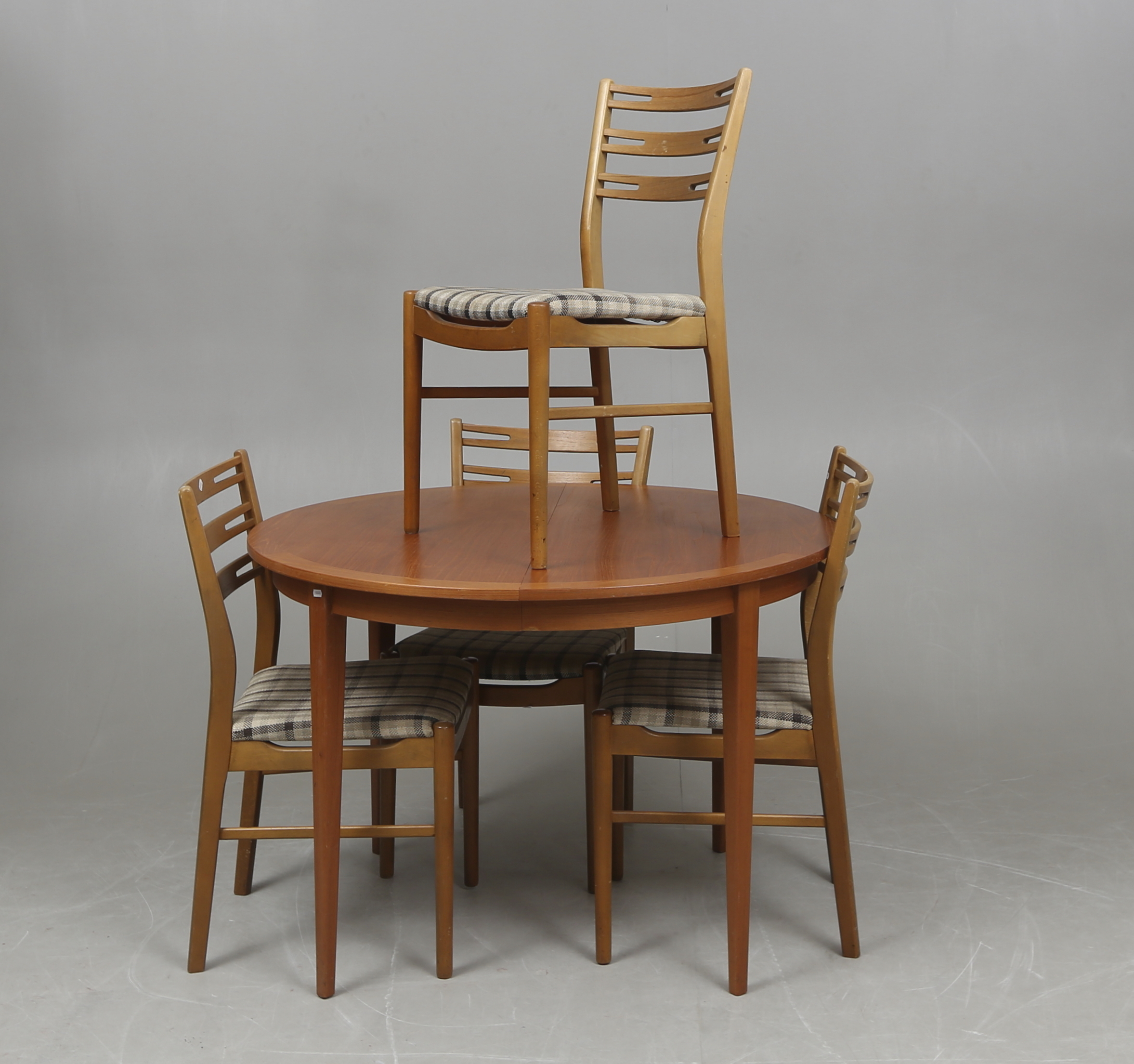 TABLE, 1950s 60s and CHAIRS, 4,