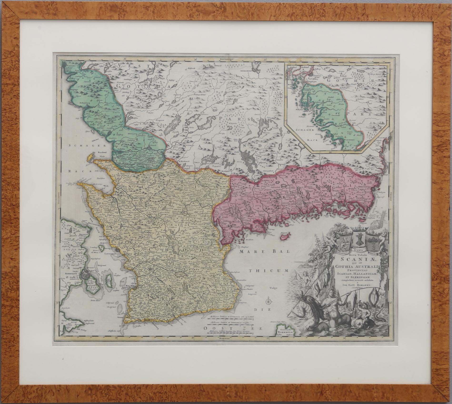 Images For 764805 Karta Over Skane Halland Och Blekinge Auctionet