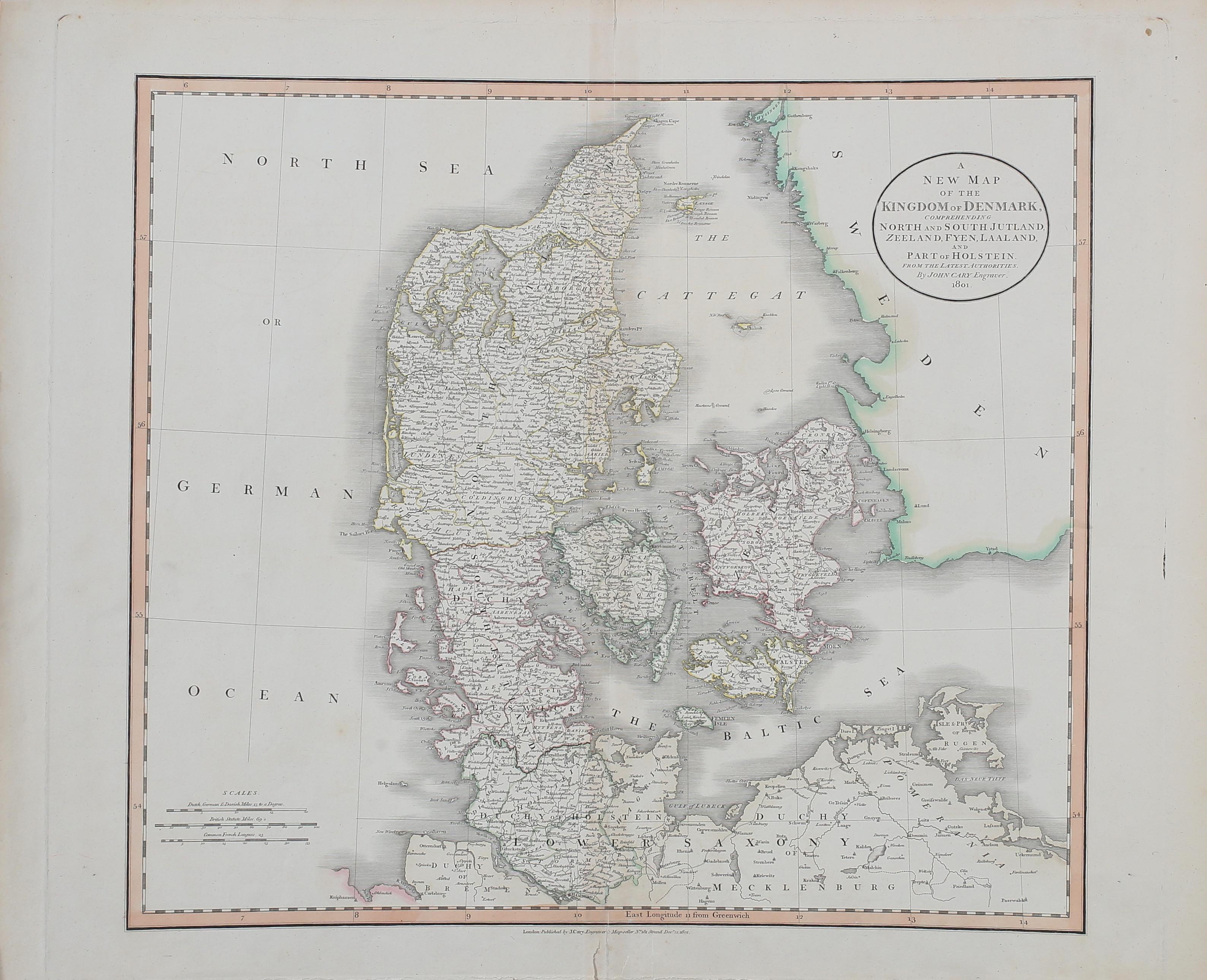 Karta A New Map Of The Kingdom Denmark Engraver John Cary 1801
