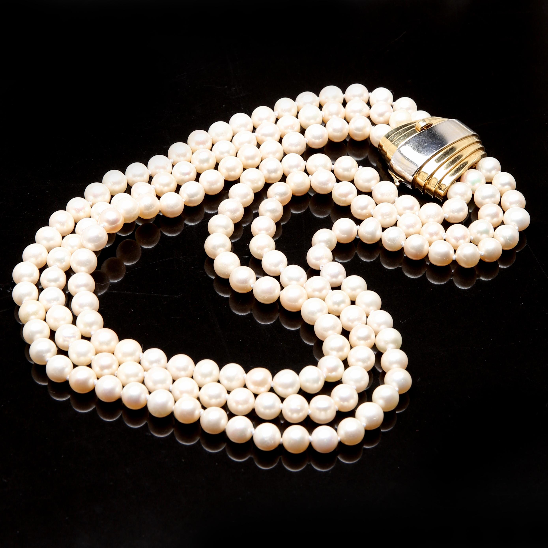 Images for 840074. HALSBAND odlade pärlor med lås i 18K röd vitguld ... d5c9c021e5b04