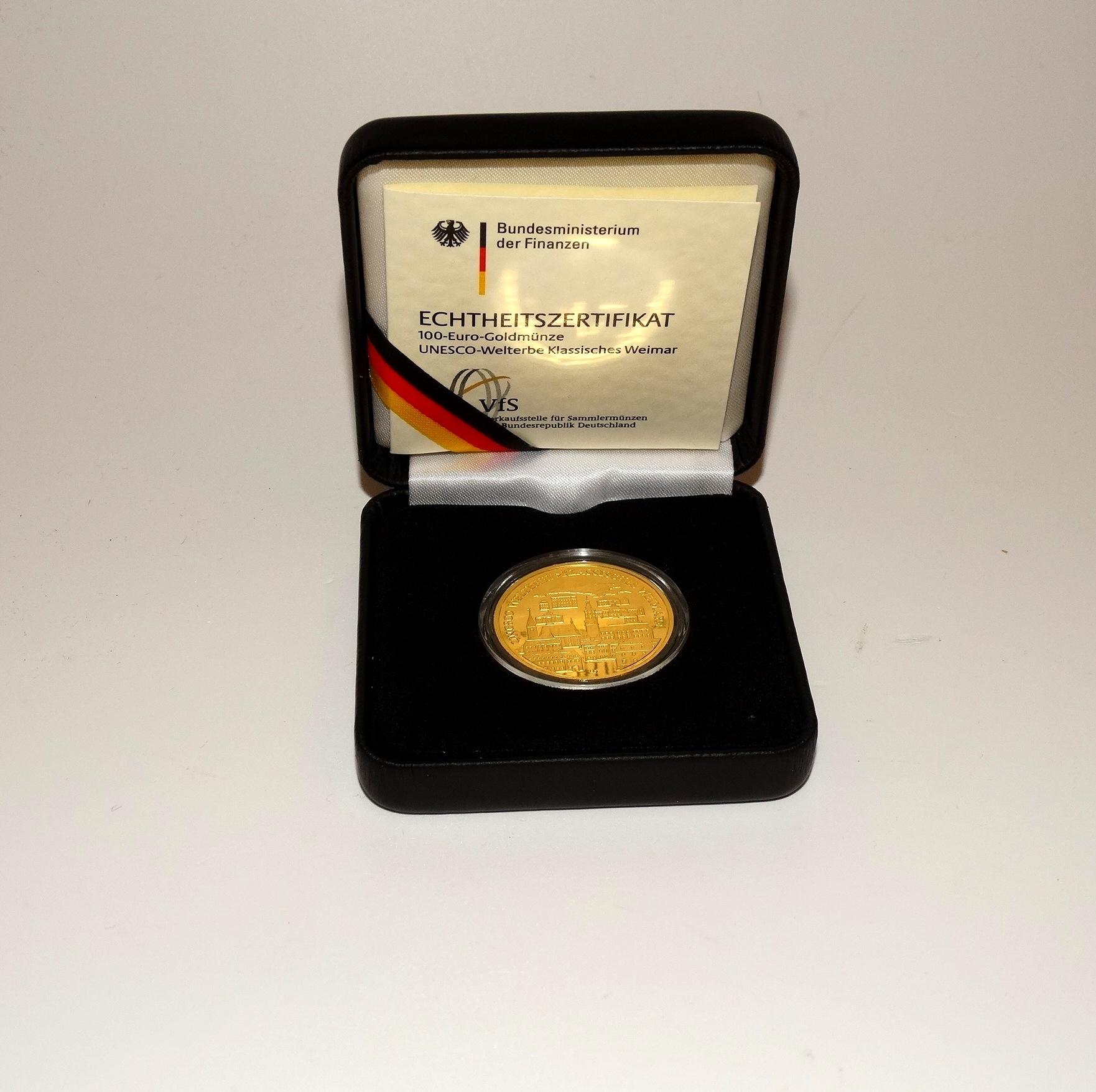 100 Euro Goldmünze Motiv Unesco Welterbe Klassisches Weimar 2006