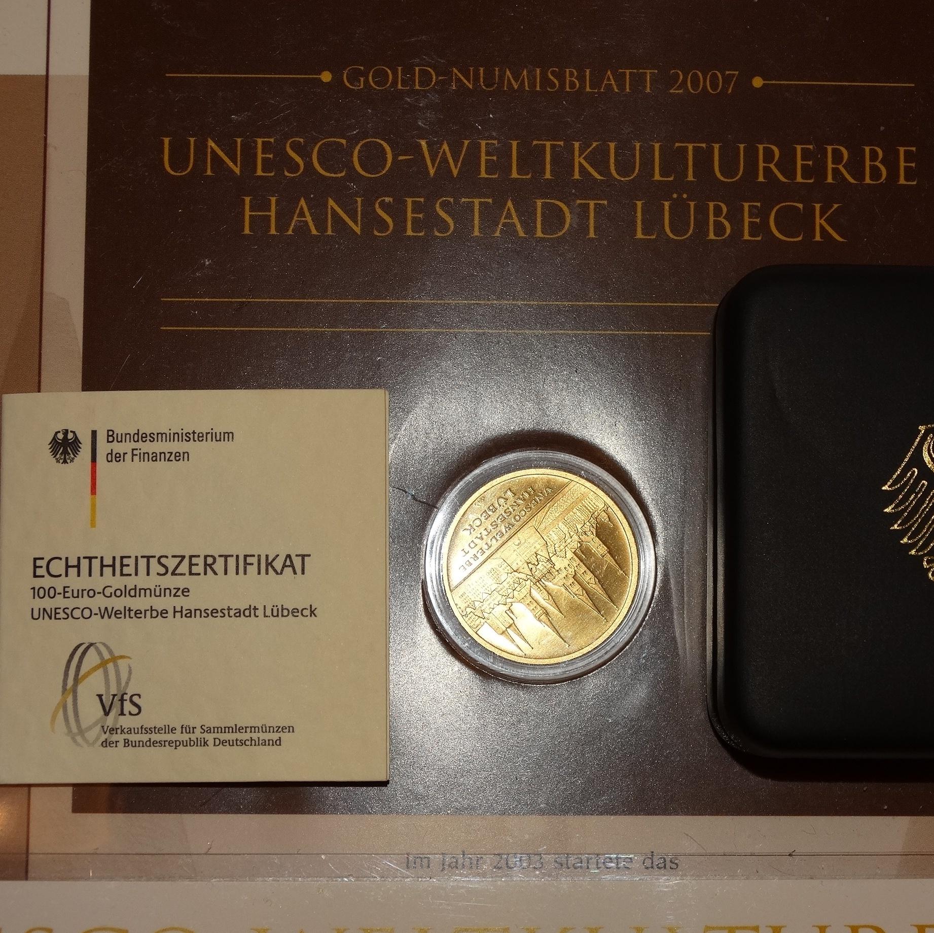 100 Euro Goldmünze Motiv Unesco Welterbe Hansestadt Lübeck 2007