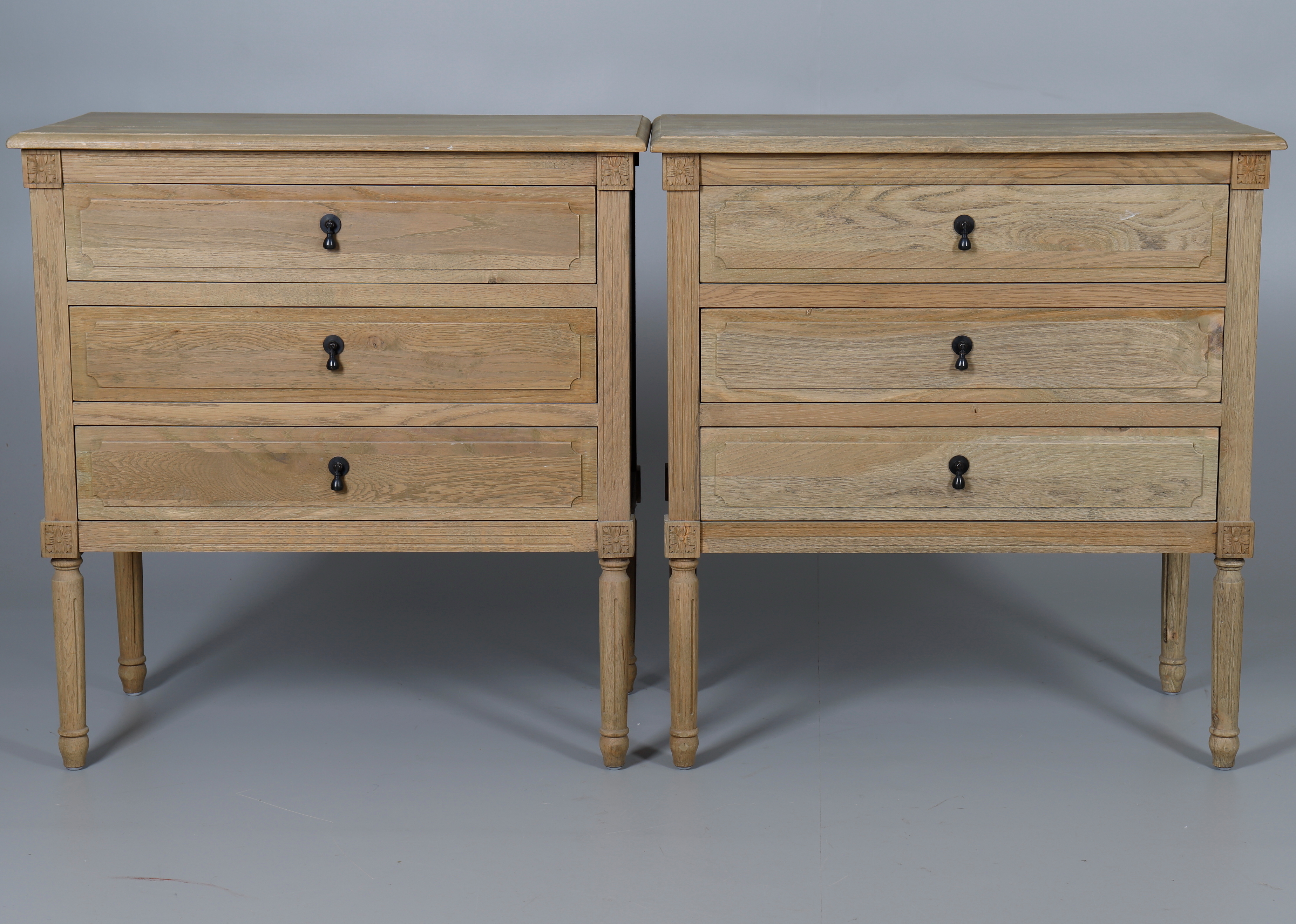 A Pair Of Limed Oak Bedside Chest