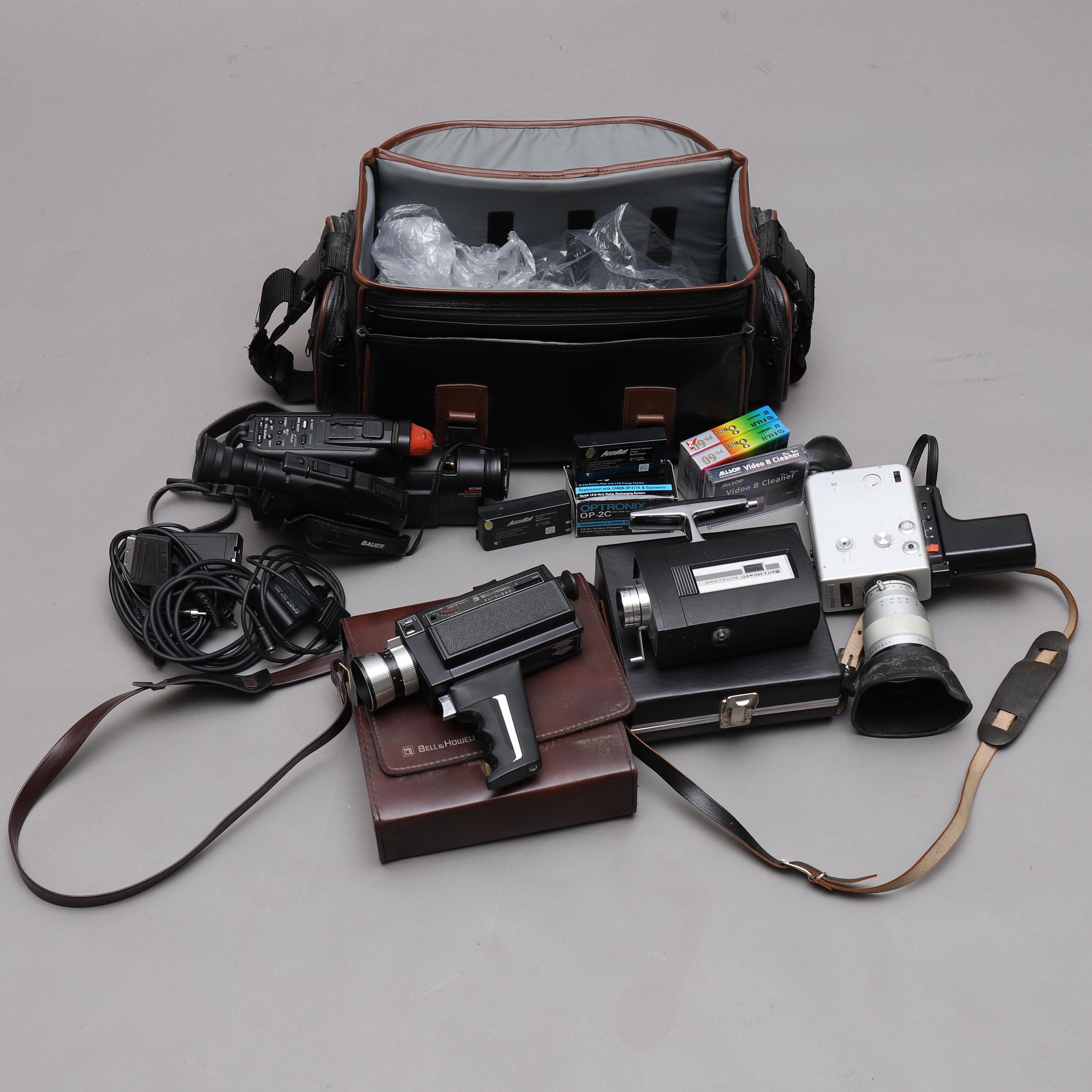 FILMKAMEROR, 4 st, Nizo, Bell Howell, Bauer  Photo, Cameras