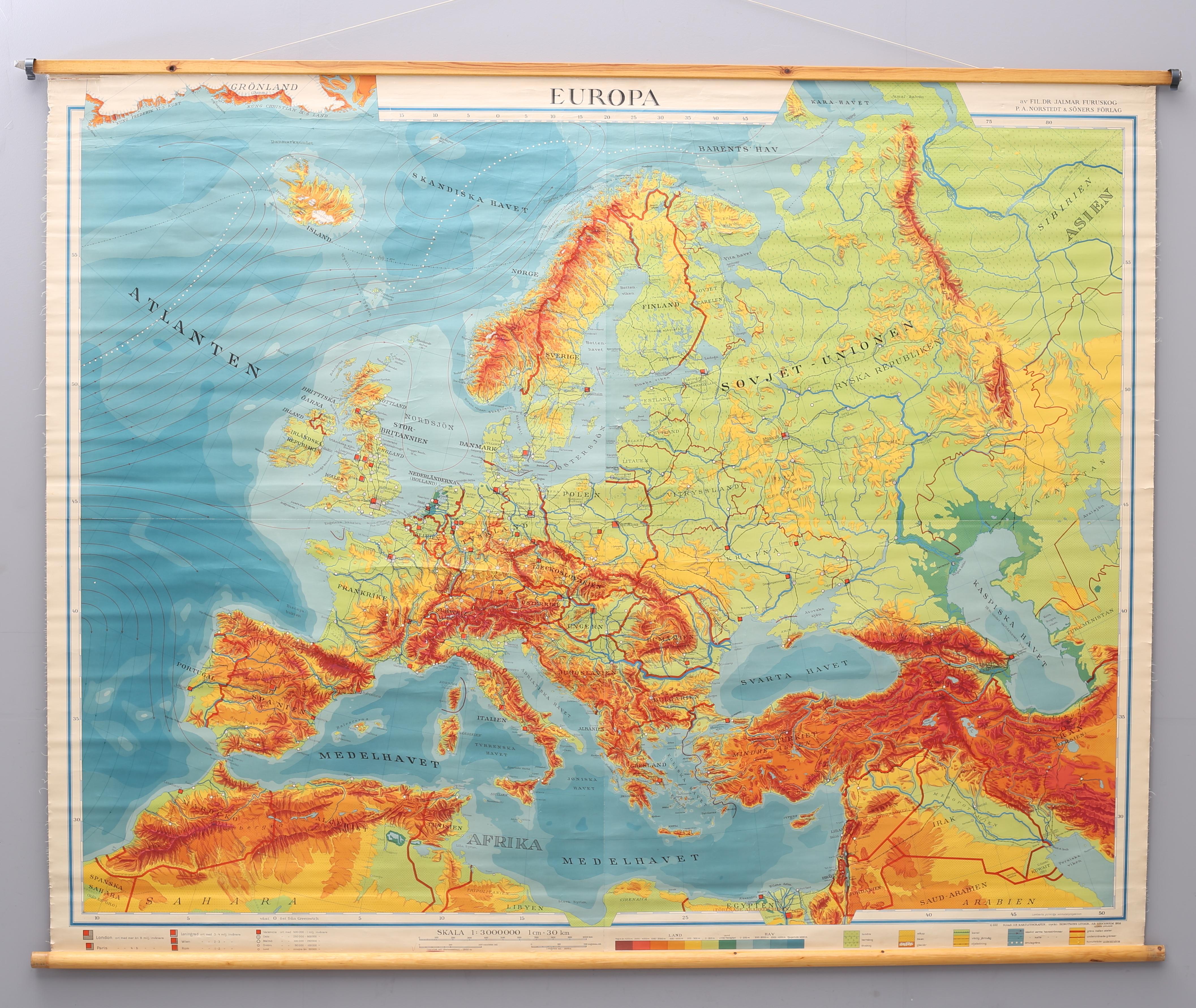 Skolplansch Karta Europa 1959 Art Other Auctionet