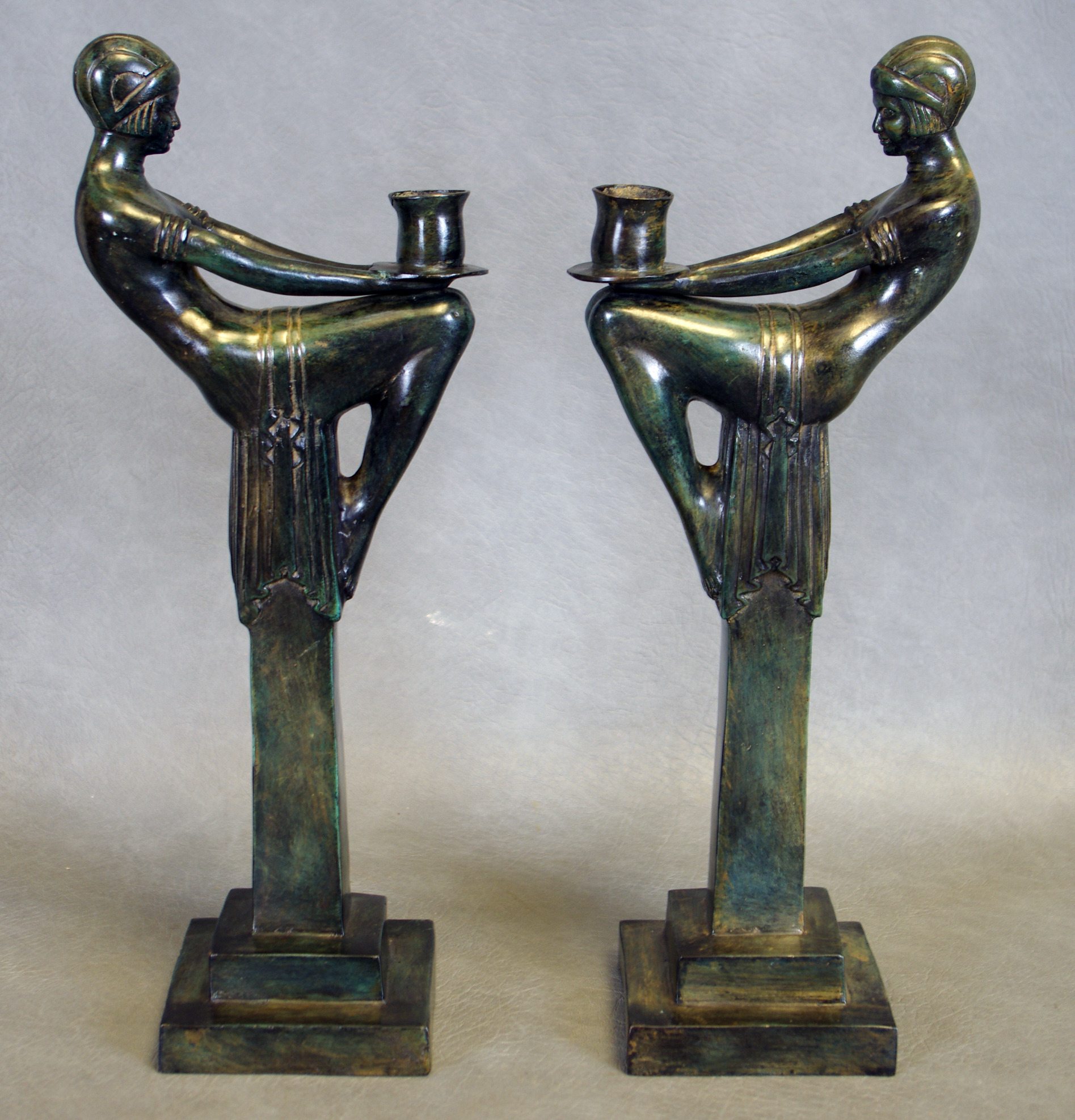Images For 94988 Ljusstakar 1 Par Art Deco Stil Brons Auctionet