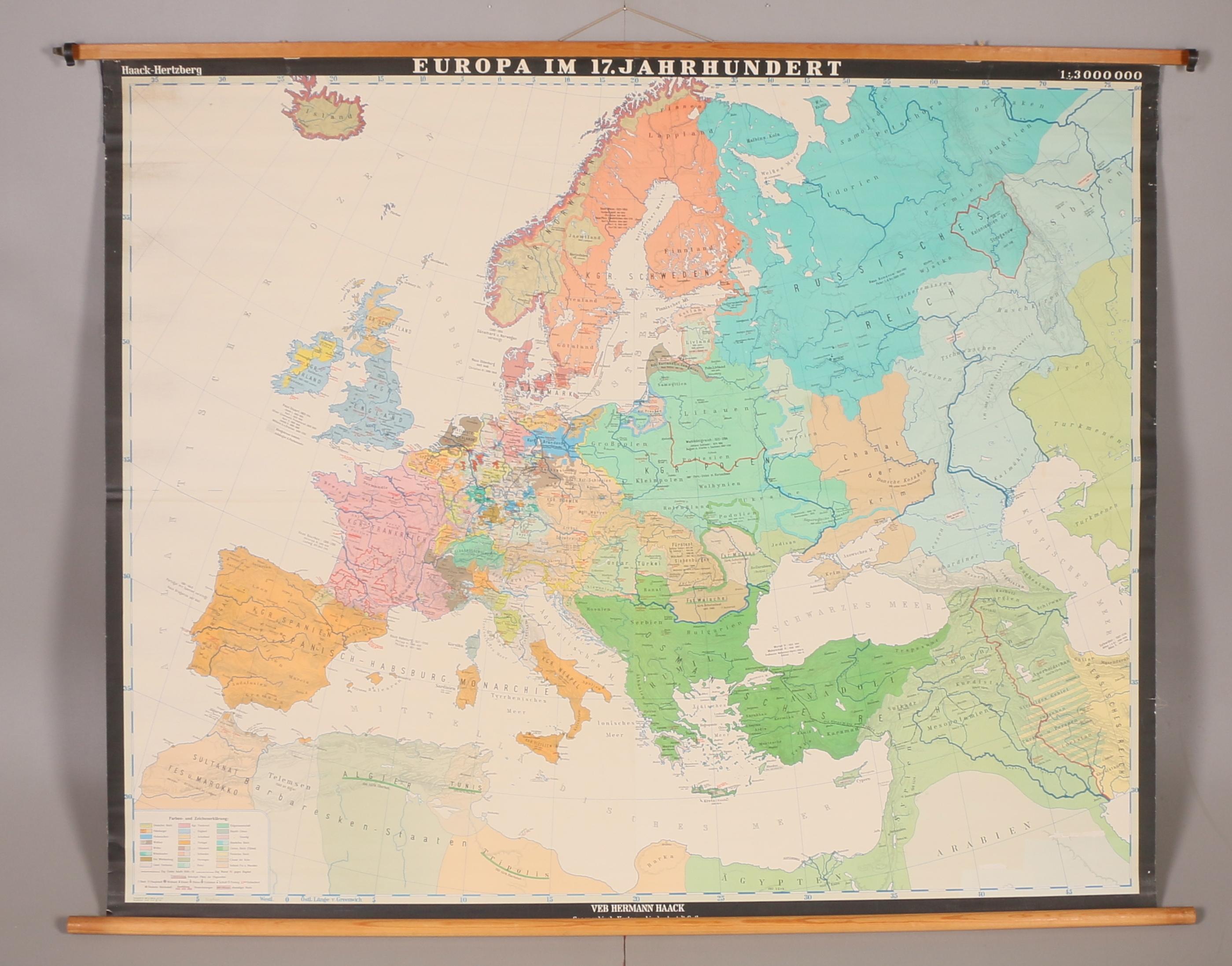 Karta Europa In 17 Jahrhundert Haack Hertzberg Art Other