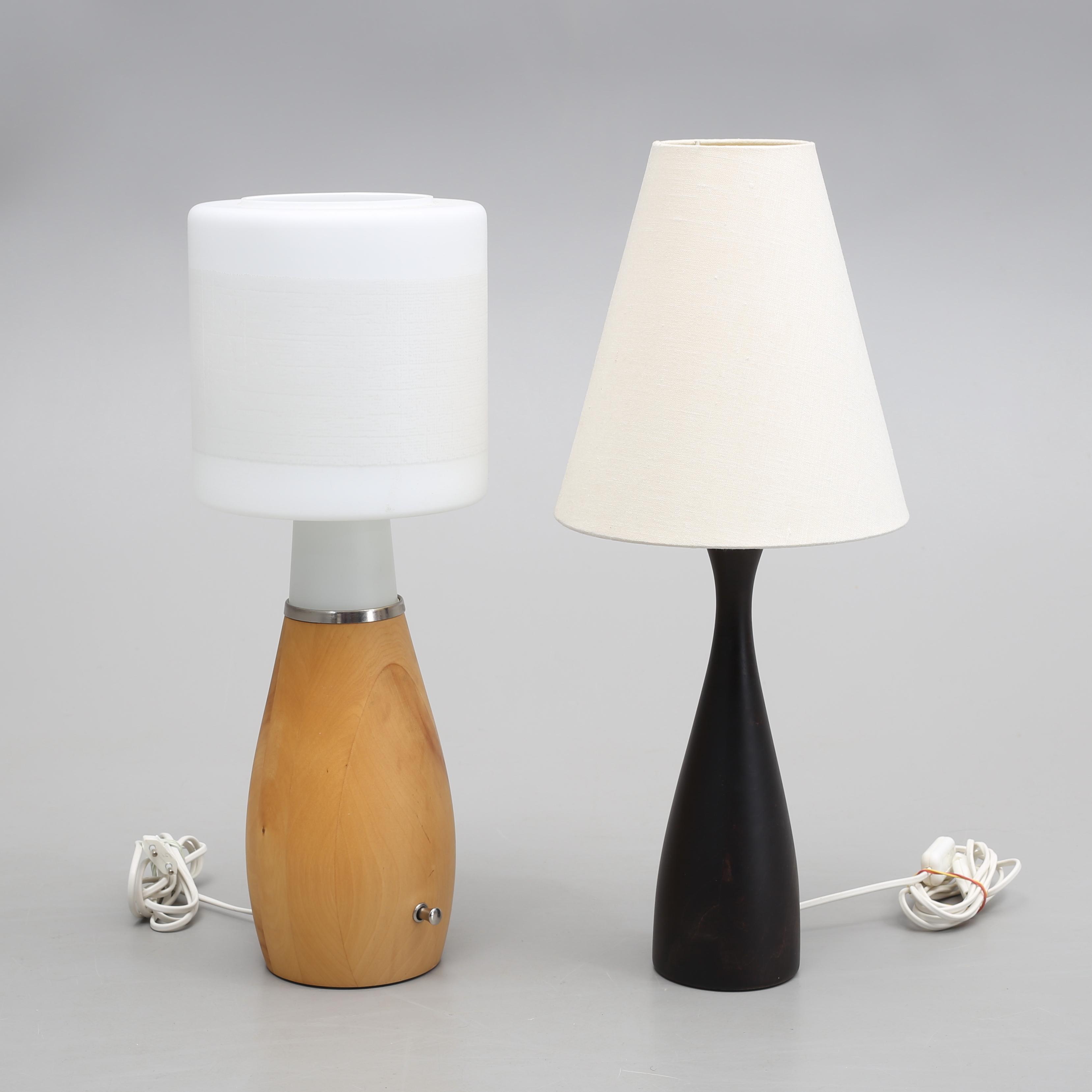 TABLE LAMP, 2 pcs, wood glass, IKEA. Lighting & Lamps