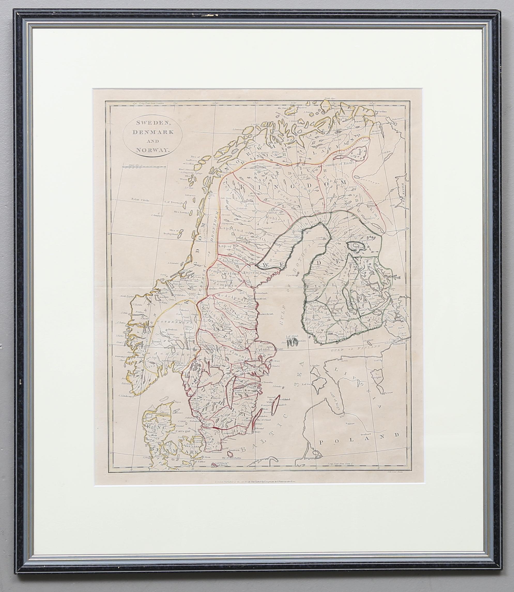 Karta Sverige Danmark Och Norge Tryckt Av Longman Co