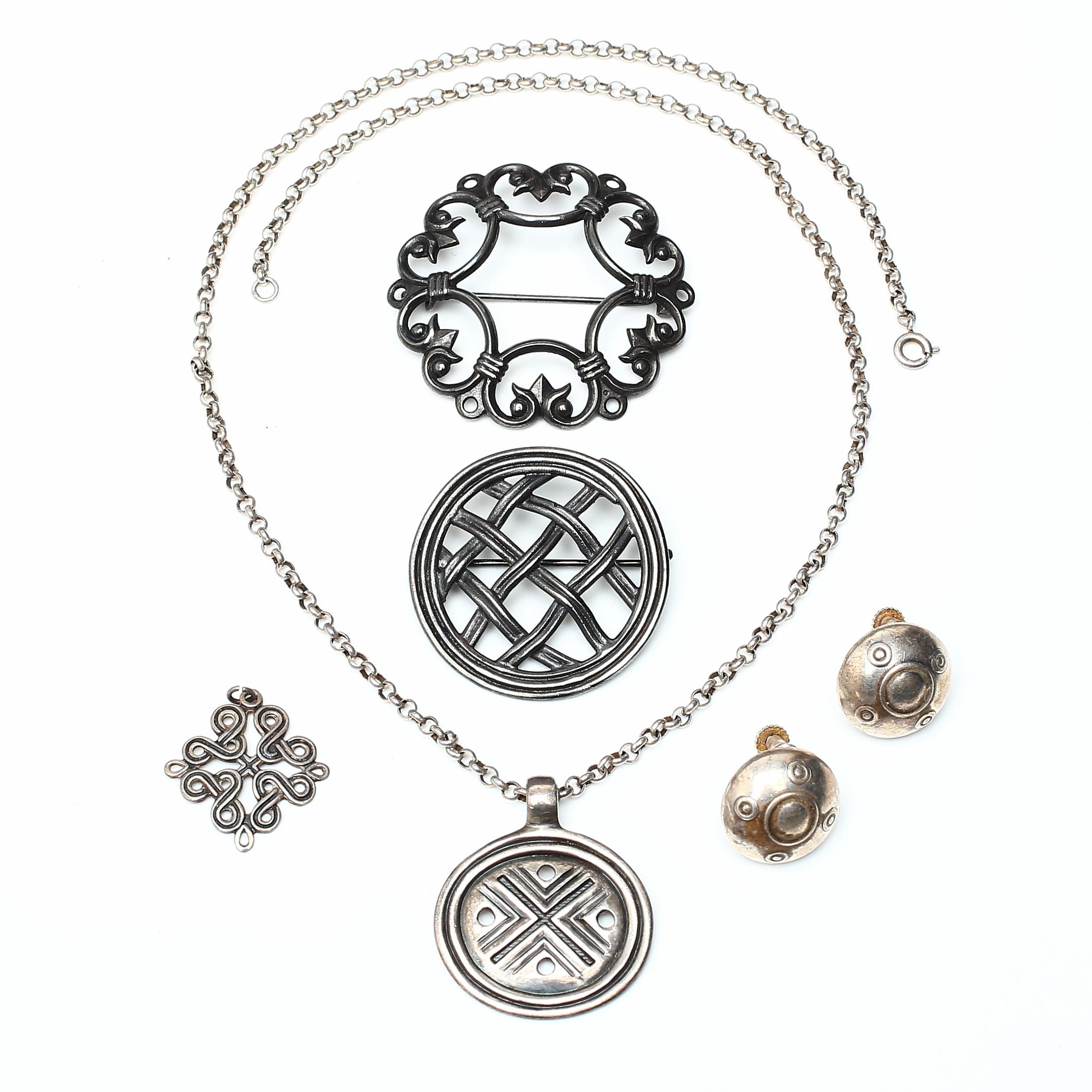 KALEVALA KORU, smycken, 5 delar, silver, Finland, 1900-tal