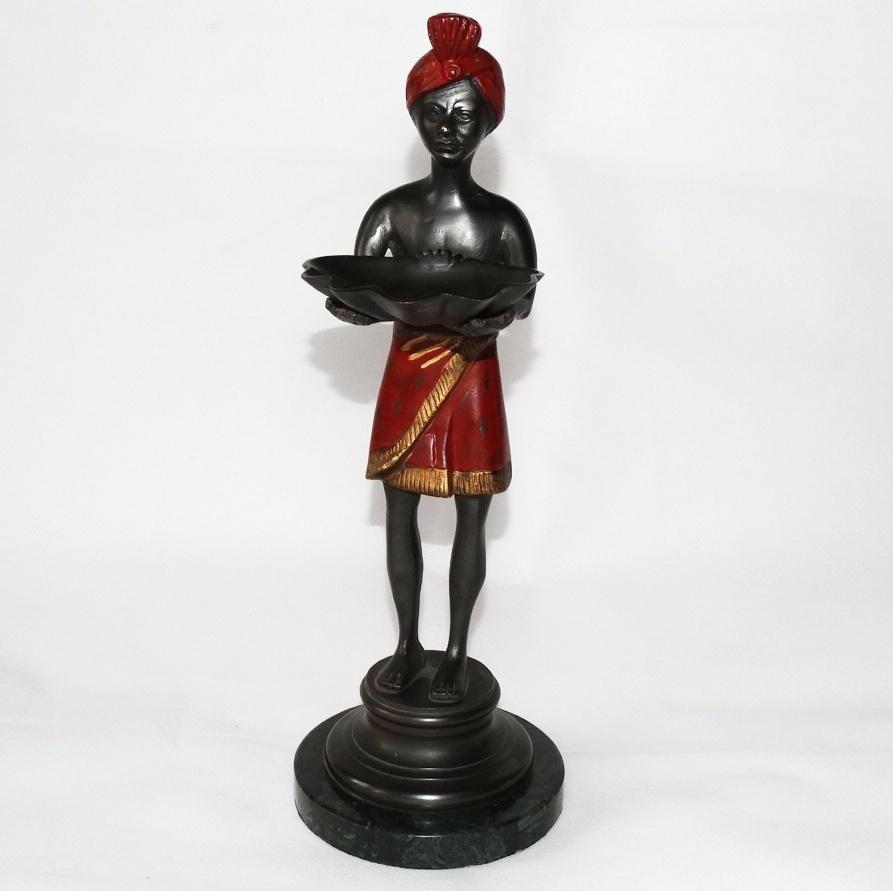 Bronzefigur Als Visitenkartenhalter Mit Rotem Turban Silver